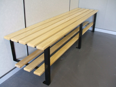 Wall to floor fixed bench